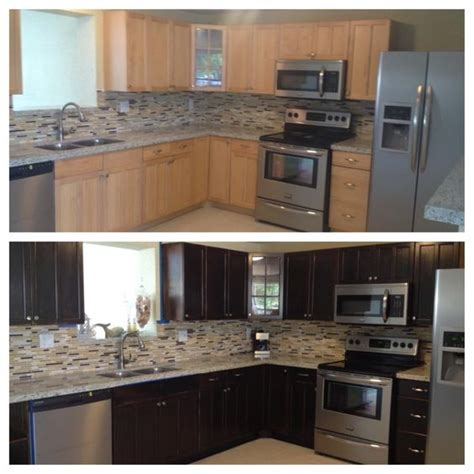 My Kitchen Before After Using Wood Stain Diy Staining Kitchen Cabinets Darker