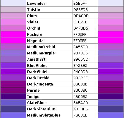 purple color code html color code violet