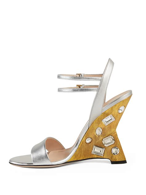 gucci engel jeweled leather wedge sandals in metallic lyst