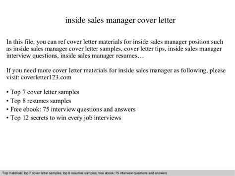 cover letter for inside sales position inside sales manager cover letter