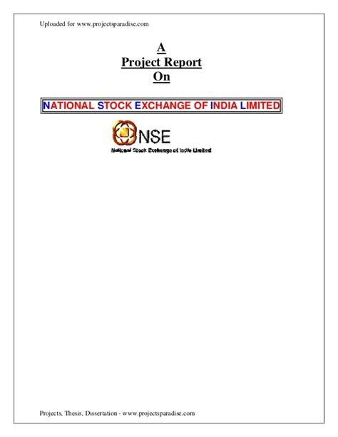 Mba 4th Sem Project Report In Finance by A Project Report On Nse