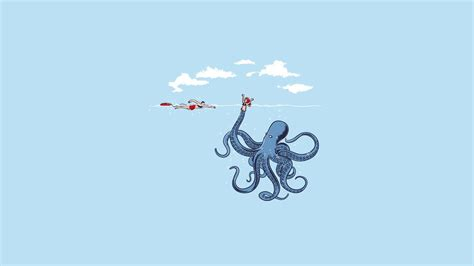 Octopus Home by Humor Minimalism Simple Blue Octopus Wallpapers Hd