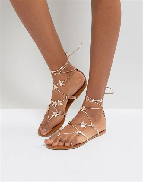 Lace Up Flat Sandals new look lace up flat sandal gold modesens