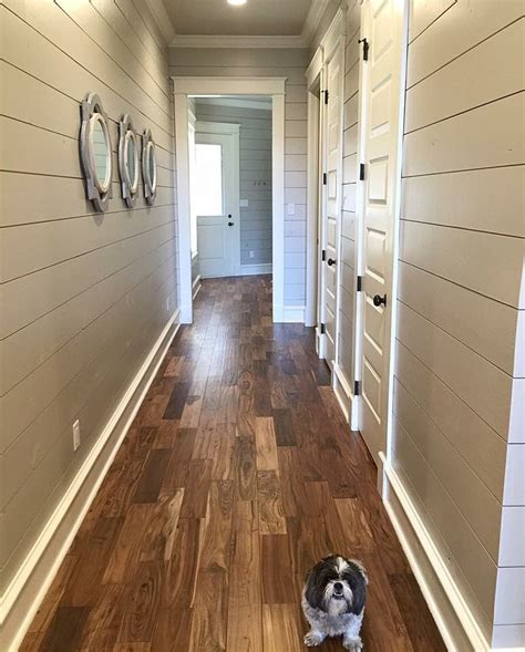shiplap real wood floors are acacia real wood and paint on ship lap is