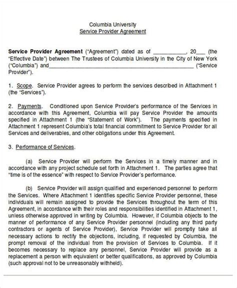 28 service provider agreement template management