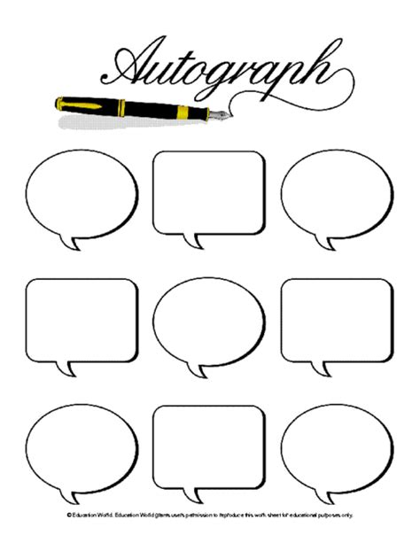 pages templates for students student autograph page template education world