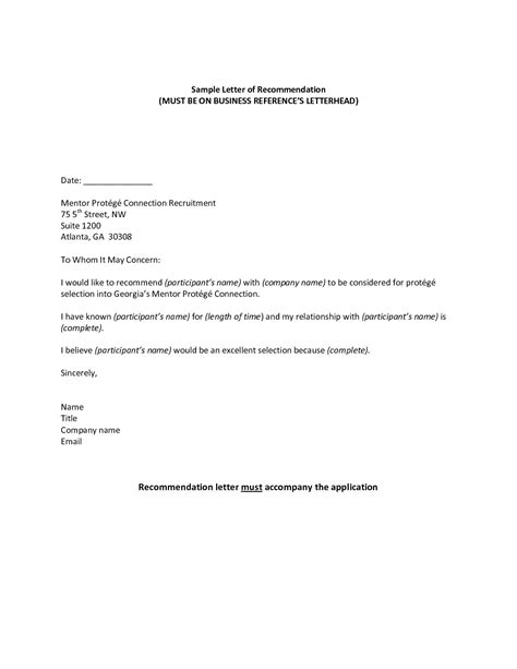 free letter of reference template recommendation letter template