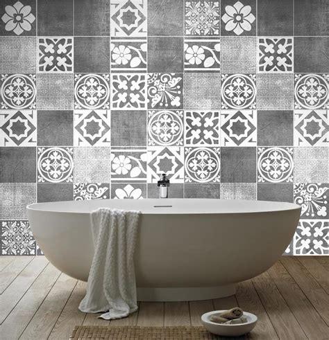 Charmant Stickers Carrelage Salle De Bain #5: Patchwork-black-tiles-stickers1.jpg