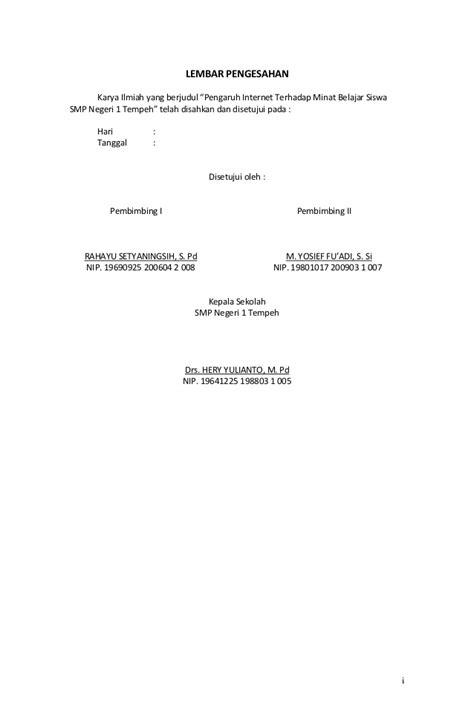format halaman skripsi lembar pengesahan