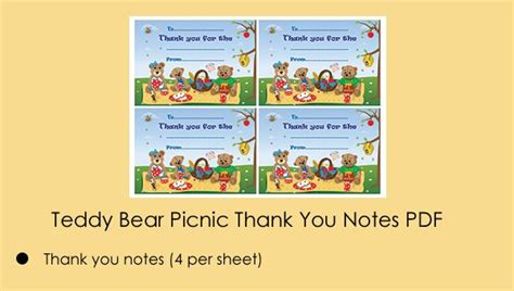 printable thank you notes uk 15 best images about teddy bear picnic party ideas on