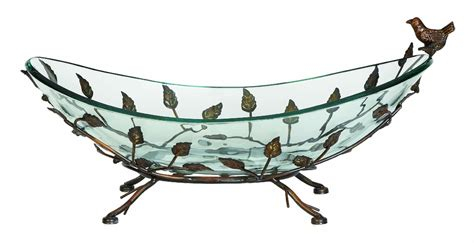 wild orchid home decor benzara 68507 home decor oval glass bowl on multi leaf metal base design at wildorchidquilts net