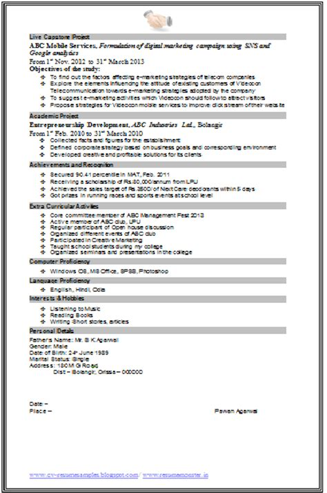 mba marketing resume format 10000 cv and resume sles with free mba marketing resume format