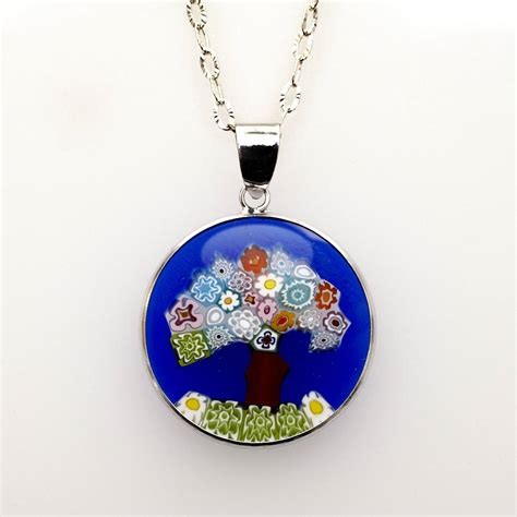 Jewish Jewelry Blue Tree Of Life Pendant Murano Glass