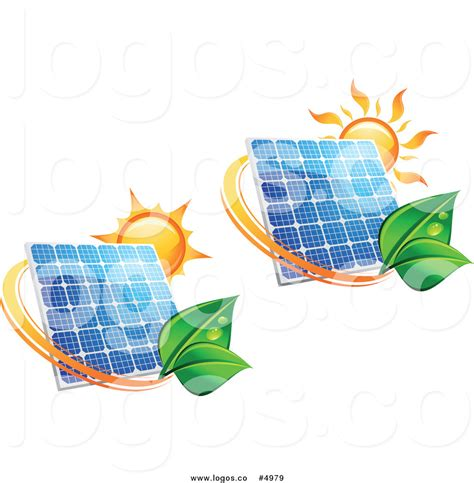 royalty free vector of suns and solar panels with green