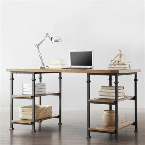 Myra Vintage Industrial Modern Rustic Storage Desk By Industrial Home Office Desk