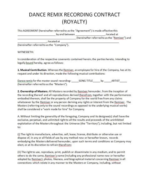 dance contract template royalty agreement contract free printable documents