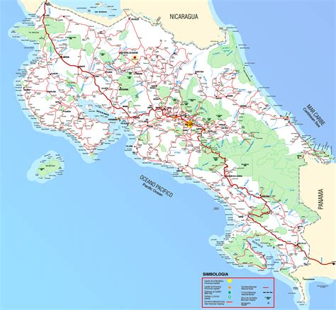 detailed road map of costa rica pin tamarindo mapgif on