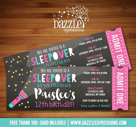 printable birthday invitations sleepover printable chalkboard sleepover ticket birthday invitation