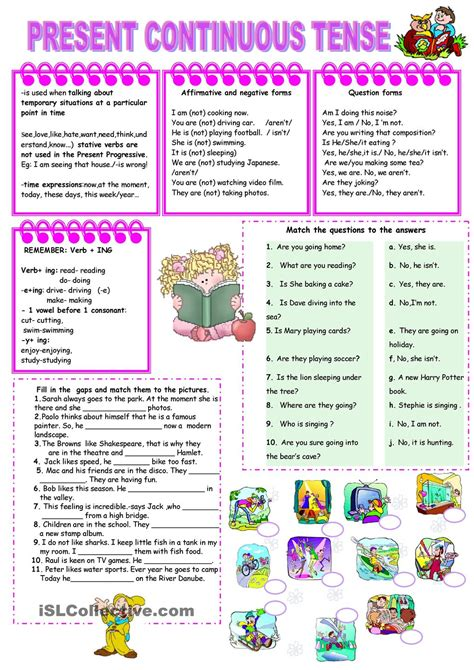 pattern of present continuous tense present continuous tense worksheet kindergarten level
