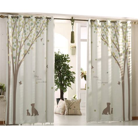 Green And Beige Curtains Inspiration Beige And Green Tree Print Poly Cotton Blend Country Curtains