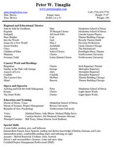 musical theatre resume template musical theater resume best template collection