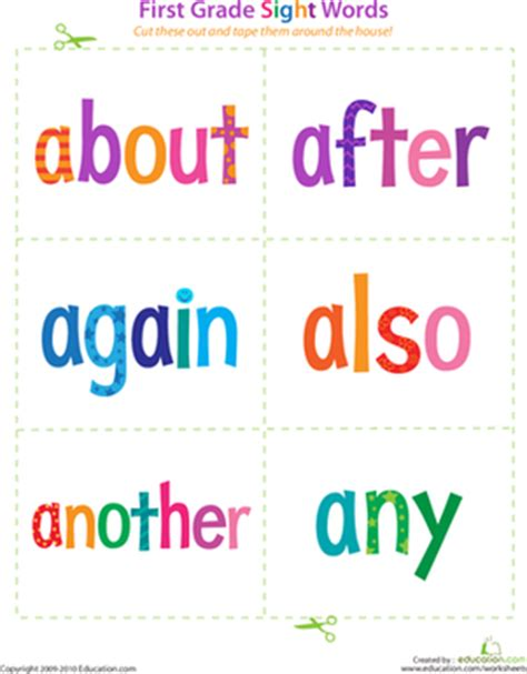 printable flashcards for reading printable 1st grade sight word flashcards education com