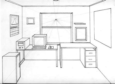 1 Point Perspective Room Interior - 1 point perspective drawing room one point perspective