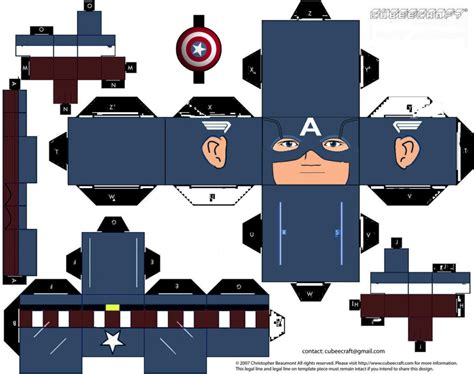 Captain America Papercraft - mini captain america paper crafts