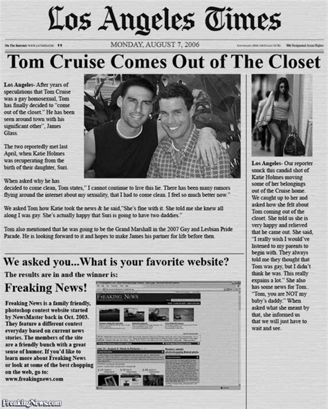 Tom Cruise In The Closet by Tom Cruise Comes Out Of The Closet Pictures Freaking News