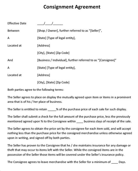 consignment agreement template free consignment contract template 6 free word pdf