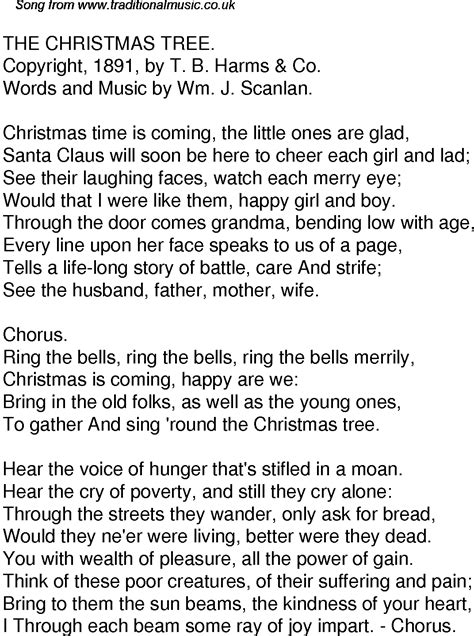 old time song lyrics for 49 the christmas tree