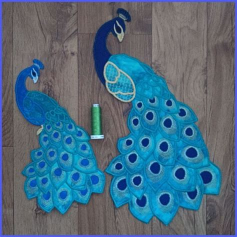 peacock applique peacock large applique machine embroidery design