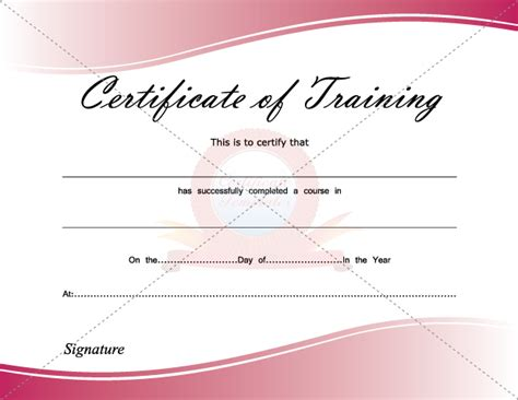 certificate of training certificate template pinterest