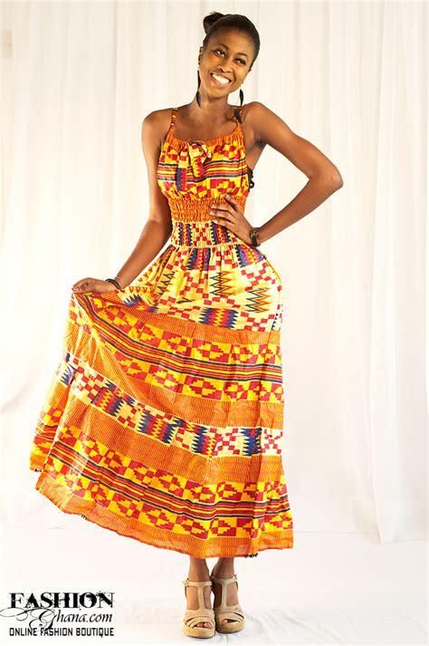 kente print cloth wear maxi dress fashionghana