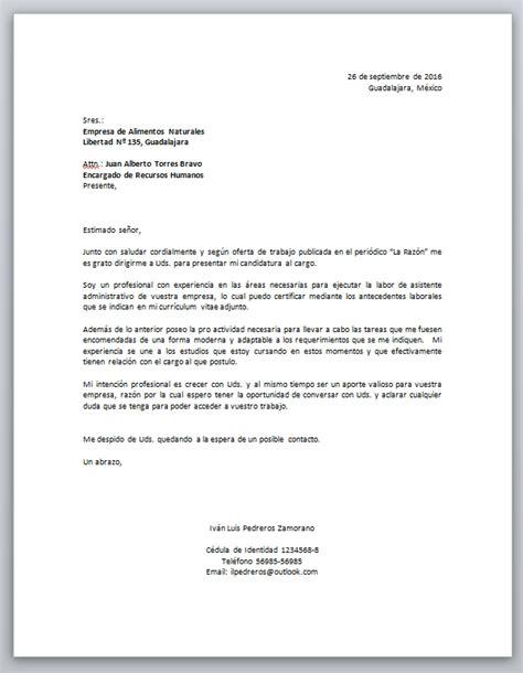 Modelo De Carta De Presentacion Que Acompaña Al Curriculum Vitae Carta De Presentaci 243 N Laboral Descarga Formato Word