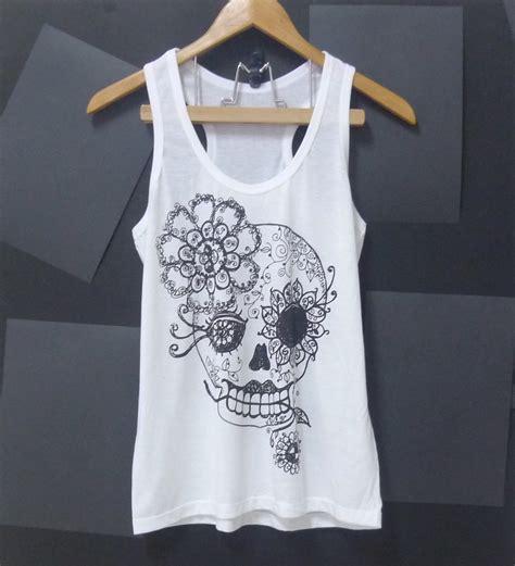 White Flower Shirt Size S M L sale vintage flower skull tank top sugar skull white skeleton top shirt