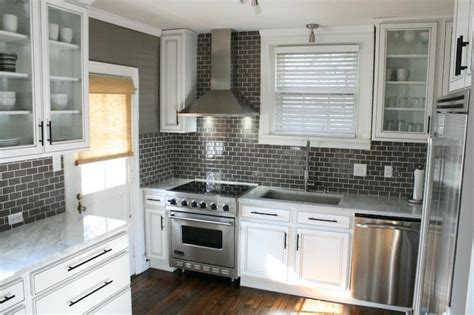 Kitchen Subway Tile Backsplash Designs Gray Subway Tile Backsplash Design Ideas