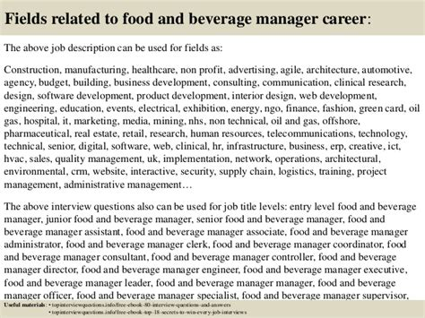 Food And Beverage Director Description by Top 10 Food And Beverage Manager Questions And Answers