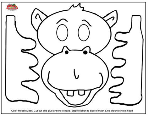 Printable Moose Mask | free coloring pages of antlers template