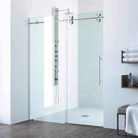 Vigo Frameless Shower Door Shop Vigo Elan 56 In To 60 In Frameless Stainless Steel Sliding Shower Door At Lowes