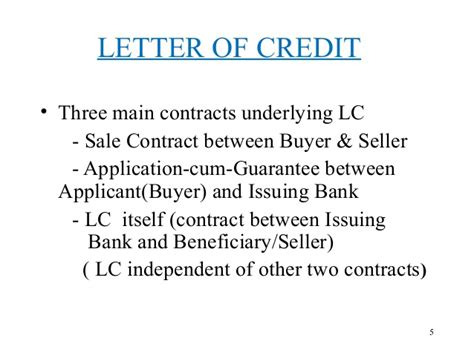 Letter Of Credit Contract Sle Letter Of Credit