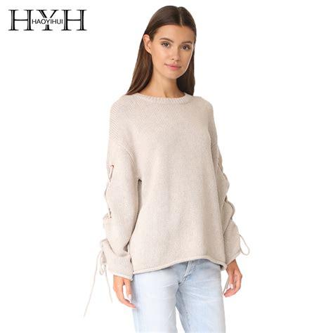 comfortable sweaters hyh haoyihui 2017 fashion solid beige sweaters women slim