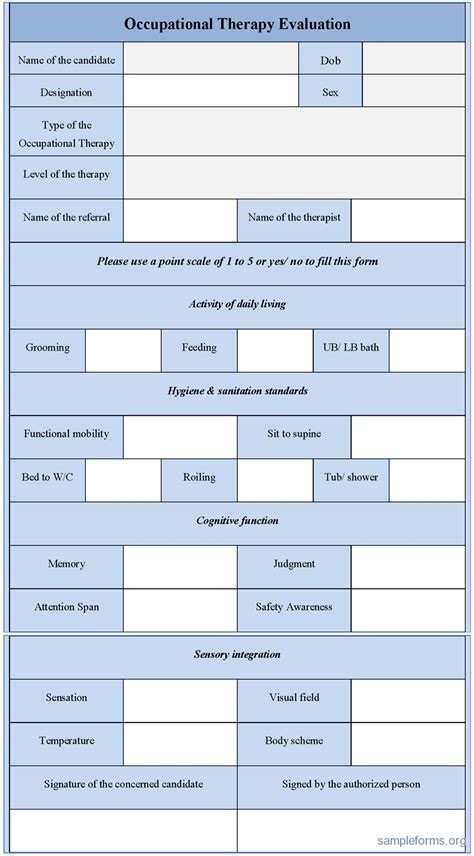 therapy templates occupational therapy evaluation form sle forms
