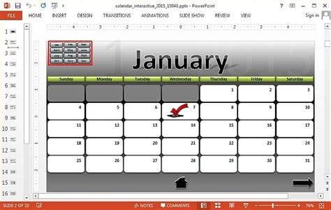 interactive 2015 calendar template for powerpoint