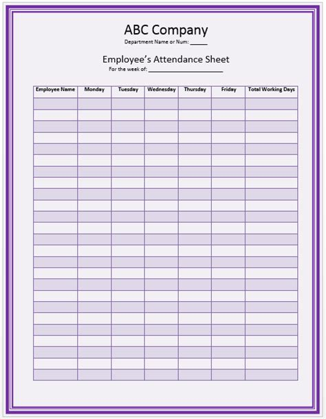 daily employee attendance sheet in excel template analysis template