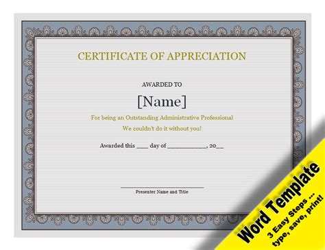 editable certificate of appreciation template certificate of appreciation editable word template