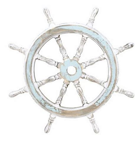 buy rustic wooden white light blue ship wheel 24 inch