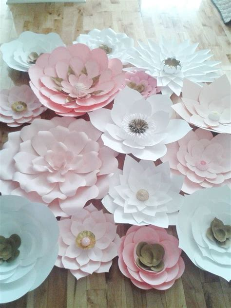 Big Paper Flowers - set of 15 large paper flowers pink white by