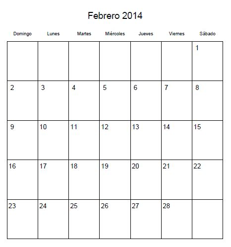 de febrero de 2014 calendario febrero 2014 universo guia