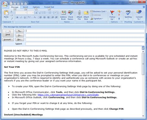 ocs 2007 r2 dial in conferencing e mail templates ehlo